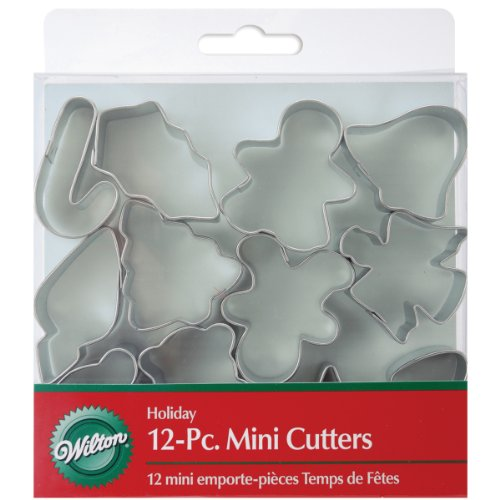Mini Metal Cookie Cutters 12/Pkg-Holiday