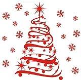A spiral christmas tree decoration wall decals - Vinyl Sticker Wall Art Deco Decal 60cm Height - 24cm Width - Black Vinyl