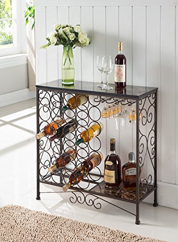 Kings Brand Furniture Metal With Marble Finish Top Console Table With Wine Rack (Wine Console Table compare prices)