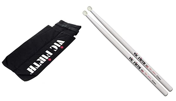 Vic Firth Marching Snare Stick Bag (Holds 2 Pair) with Vic Firth Corpsmaster Signature Snare - Ralph Hardimon Nylon Tip