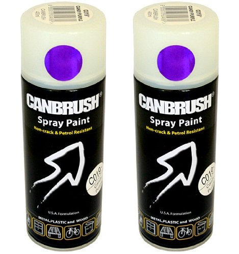 2 x CANBRUSH Spray Paint - For Metal Plastic & Wood 400ML Gloss Finish - Candy Purple