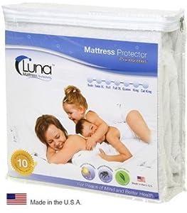 Queen Size Luna Premium Hypoallergenic 100% Waterproof Mattress Protector - 10 Year Warranty - Made In The USA