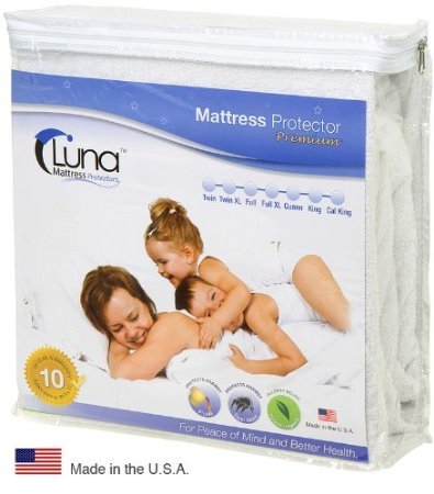 Full Size Luna Premium Hypoallergenic 100% Waterproof Mattress Protector - 10 Year Warranty - Made In The USA