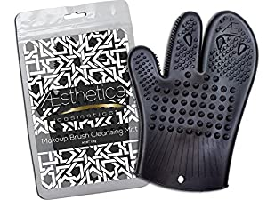 Aesthetica Cosmetics Makeup Brush Cleansing Mitt - Silicone Brush Cleaning Glove - Eco-friendly, Vegan & Cruelty Free - Patent Pending