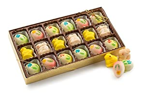 Happy Easter, Easter Gift Basket, Gourmet Easter Egg Bunny and Chicks Shaped Marzipan - 18 Easter Marzipan Truffles