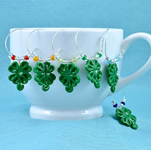 Green Polymer Clay Hand-Sculpted Shamrock Wine Glass Charms