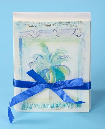 Beach Themed Blank Note Cards and Envelopes for Notes or Thank You Notes (32 Total Cards - 4 Bundles of 8 Cards)