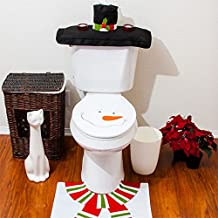 Alcoa Prime Hot Cute Christmas Decorations Happy Santa Toilet Seat Cover Rug Bathroom Set Snowman