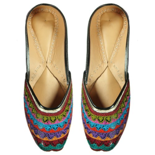 Cheap Beautiful Pattern Embroidered Rexin Traditional Indian Shoe For Women – US Size: 9.5 (B008QBGYUA)