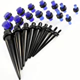 9 Pc BLACK Ear Expander (1.6mm - 10mm)(14G-00G) & 14 Pc BLUE GLOW in the DARK Ear Plug (2.4mm - 10mm)(10G-00G) Kit Gauges Taper Set UV Acrylic Ear Stretching Set