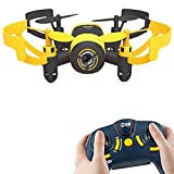 AICase Mini RC Quadcopter Drone, 2.4Ghz 6-Axis Gyro 4 Channels JXD 512V Helicopter Headless Mode UFO With 0.3MP Camera, Yellow Bee (Without WIFI)