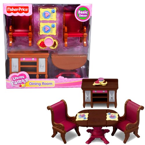 Fisher Price Loving Family Dollhouse Basic Decor Furniture Accessory Set - DINING ROOM with Expandable Drop-Leaf Table, Buffet Table, 2 Chairs, 2 Trays with