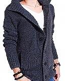 (ニャニー) Nyanny カーディガン メンズ 厚手 アウター ニット セーター ハイネック トップス お洒落 かっこいい ボタン グレー 黒 ブルー ベージュ M L XL XXL (XXL, グレー)