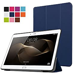 Huawei MediaPad M2 10 Case,Huawei M2 10.1 Case - Pasonomi® Ultra Slim Lightweight PU Leather Folio Case Stand Cover for Huawei MediaPad M2 10 inch Tablet (Dark Blue)