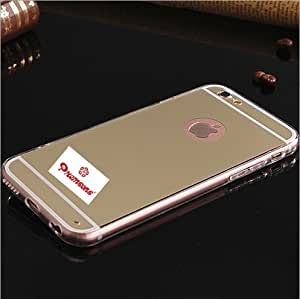 iPhone 6 / 6S Soft Gold TPU Metal Bumper with Acrylic Mirror Back Apple Designer Cover Case Hot Fashion New Arrival Best Quality Low Price Portable, Lightweight, Durable, Sleek, Not Bulky, Flexible, Amazing Grip, Tough, Raised Lip of 1.2mm Protects Against Flat Surface, Waterproof, Compact Look, Great Style, No Scratches & Bumps, Precision Cut Design for Easy Access to All Buttons and Ports, Ultra-Thin, Anti Friction, Damage Resistant, Protection from Dents, Accidental Chips & Shocks