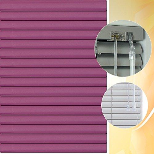 Aluminium Jalousie 140 x 180 cm (Breite x Höhe) – Lamellenfarbe 1417 brombeere // Maßanfertigung Alu Jalousien Jalousette Rollo Plissee