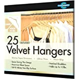 Closet Complete Ultra Thin No Slip Velvet Hangers for Shirts and Dresses, Camel, Set of 25 ~ Closet Complete