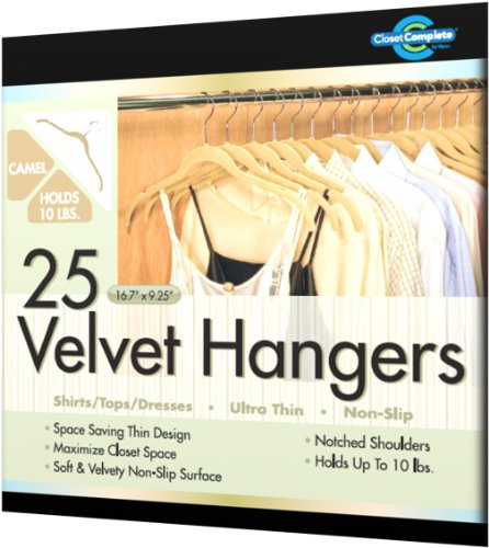 Closet Complete Ultra Thin No Slip Velvet Hangers for Shirts and Dresses, Camel, Set of 25
