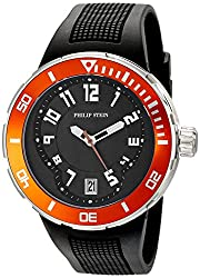 Philip Stein Mens 34-BOR-RB Active Extreme Analog Display Japanese Quartz Black Watch