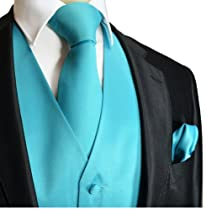 Brand Q Wedding Vest Set Solid Turquoise 3pcs Tuxedo Vest + Necktie + Handkerchief M