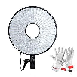 FalconEyes DVR-630DVC 630 LED Ring Light Bi-Color Temperature 3000k to 7000k Adjustable with L shape Camera Bracket