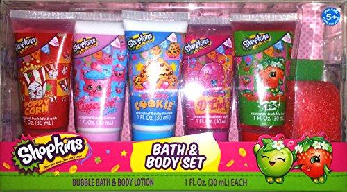 Shopkins Bath and Body Set Scented Bubble Bath Lotions Bath Sponge