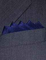 "Fine Navy Blue Silk Pocket Square - Full-Sized 16""x16"""