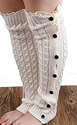 Knee Crochet Lace Trim Button Down Braid Leg Knit Warmers Boot Socks White