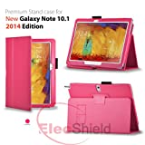 ElecShield Case for Samsung New Galaxy Note 10.1 2nd Tablet 2014 Edition Version Luxury Faux Leather Stand Case (Hot Pink)