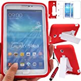 GLITZY GIZMOS RED SHOCK PROOF BUILDERS HEAVY DUTY TOUGH CASE COVER FOR SAMSUNG GALAXY TAB 3 7.0 inch (P3200 / P3210 / SM-T210 / SM-T211 / SM-T215) LTE WIFI 7
