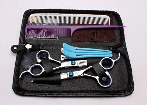 カットシザー &セニングシザー スキはさみ シザーケースセット 理美容 ・家庭用 散髪 ハサミ セットこれ1つで安心の充実12セットブルーオリジナルメモ帳付き