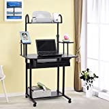Songmics 80 x 54 x 135 cm Computer Desk with Sliding Keyboard 4 Shelves 4 Wheels and Drawer for Storage Movable Portable Study Workstation Used at Home and Office Black
