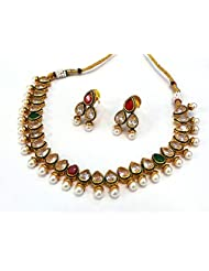 Maharaja Crafts Gold Plated Kundan Set With Earrings For Women