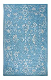 Area Rug, Turquoise/Silver Vintage Distressed Wool Rugs Carpet, 5-Foot X 8-Foot