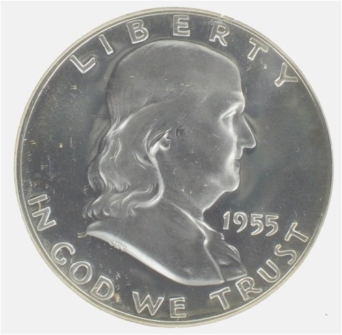 Franklin Silver Half Dollar Coin 1955