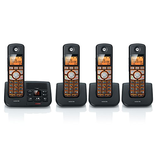 Motorola DECT 6.0 Cordless Digital Home Phone with 4 Handsets, Caller ID and Answering System K704B – Black