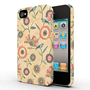 Koveru Designer Printed Protective Snap-On Durable Plastic Back Shell Case Cover for Apple iPhone 4 , iPhone 4S - Flower Scroll Butter