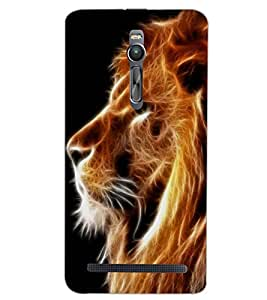 PrintDhaba LION SHADOW D-6827 Back Case Cover for ASUS ZENFONE 2 (Multi-Coloured)