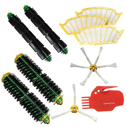 Shp-Zone 2 X Bristle Brush & 2 X Flexible Beater Brush & 3-Armedside Brush + 6-Armedside Brush & 3 Filters & Cleaning Tool Pack Mega Kit For Irobot Roomba 500 Series Roomba 510, 530, 535, 540, 560, 570, 580, 610 Vacuum Cleaning Robots All Green, Red, Blac front-588910