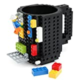 BPA FREE Black Building Build On Bricks Coffee Mug Lego Pixelblocks Mega Bloks KREO KNEX Bricks
