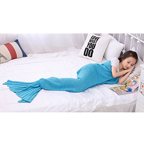 MasiMiele Kid's Warm&Soft Suitable For All Seasons Knitted Mermaid Blanket,Sofa Quilt Living room blanket 140cmX70cm(55.1