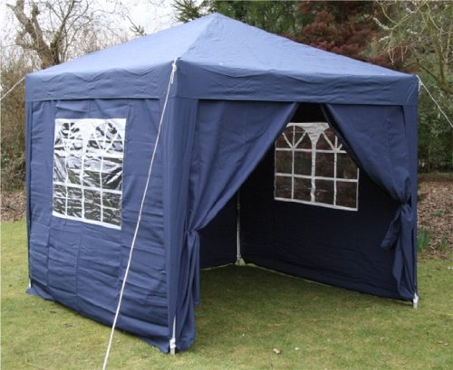 2.5x2.5mtr BLUE Pop Up Gazebo, FULLY WATERPROOF with Four Side Panels and Carrybag