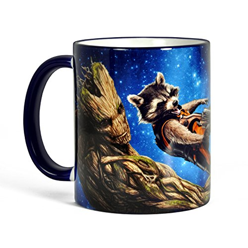 Guardians of the Galaxy - Tazza con motivo di Rocket e Groot - Stampa circolare con licenza ufficiale - regalo per veri fan - Ceramica 300 ml