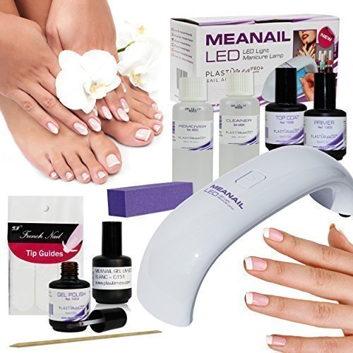 Meanail KIT Lampe LED professionnelle 6W pour French Manucure - 10 Accessoires Vernis Gel Nude 15 ml + Vernis blanc 15 ml + Bandes French + Cleaner/Remover/Top Coat/Primer + Pousse cuticule et Bloc polissoir