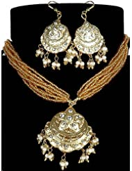 Exotic India Golden Islamic Star And Moon Beaded Necklace With Earrings And Beaded Chain - Lacquer W