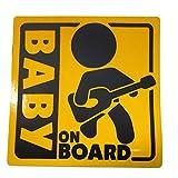BABY ON BOARD 赤ちゃん 乗車中 ( 12cm マグネット ステッカー ギタリスト )