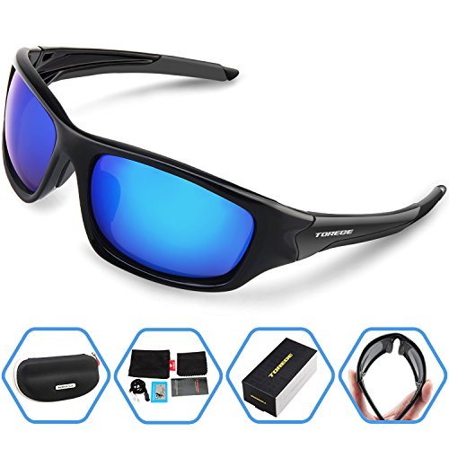 Torege Polarized Sports Sunglasses For Cycling Running Fishing Golf TR90 Unbreakable Frame TR011 (Black&Blue) (Sun Glasses Outdoor Sports compare prices)