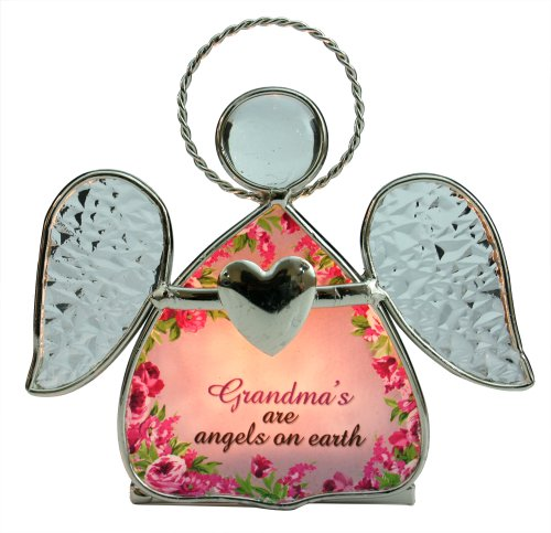 Grandma Candle Holder -- Beautiful Glass Angel Tealight Candle Holder with Flowers and
