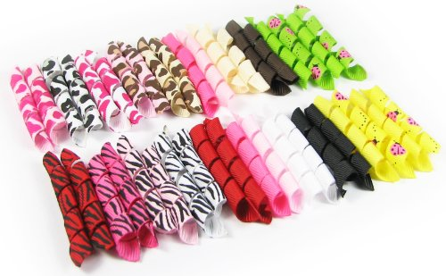"Cheap HipGirl Boutique 240pc 2.5"" Pre-Cut Animal Prints Korker Ribbon Combo. Assorted"