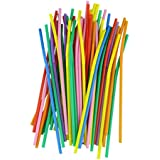 Voberry® 100pcs Eco-friendly Plastic Long Bendy Flexible Drinking Straws Cocktail Drink Straw Assorted Colors(1)